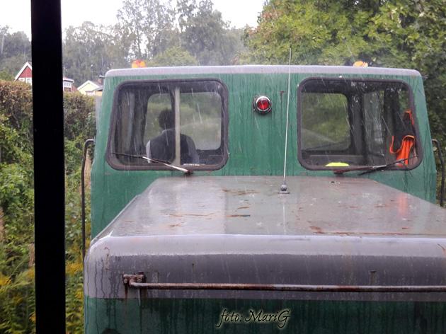 Gyttorpståget med Pelle i hytten på dragande lokomotor. Foto Mari G
